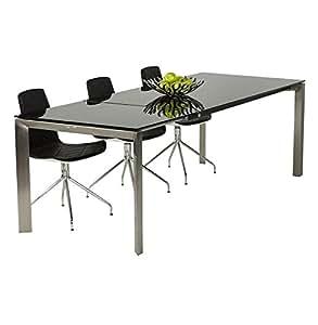 Alterego - Table à dîner extensible 'GLAGLA' noire en verre trempé avec allonge