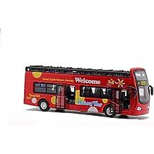 Edealing (TM) Visita turística de la ciudad Double Bus Toy Pull Action Acción LED con música (rojo)