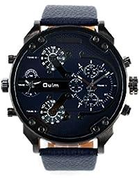 Montre à Quartz Homme avec Double Fuseau Horaire Mouvement Grand Rond Cadran PU Cuir Montre Bracelet Sports de Plein Air Watch Oulm 3548 Bleu