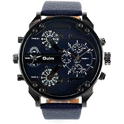 OULM 3548 maschio al quarzo con quattro fuso movimento grande quadrante rotondo PU cuoio orologio cinturino Sport Outdoor Watch Blue