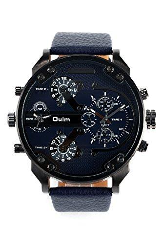 Vococal Orologi Quadrante Grande, OULM 3548 Quarzo PU Cuoio Orologio Uomo Cinturino Sport Outdoor Watch (Blue)