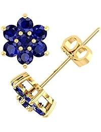 10K Gold Star Form Blau Saphir Ohrstecker (11/2Karat)