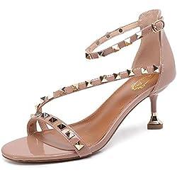 Damen Knöchelriemen Pumps Sommer Leder Tasche T-Strap Nieten Tapered Ferse Sandalen Weibliche Riemen Hollow Heart Shaped High Heels Schuhe , pink , 38