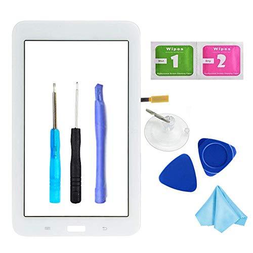 Tefir Weiß Frontglas Display Touchscreen Ersatzglas mit Digitizer für Samsung Galaxy Tab 3 Lite 7.0 T110 SM-T110 (nur WiFi Version, kein LCD) + Kleber und Werkzeug Tablet Pc Digitizer