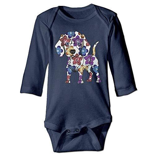WYICPLO Unisex Infant Bodysuits Beagle Baby Babysuit Long Sleeve Jumpsuit Sunsuit Outfit Navy -