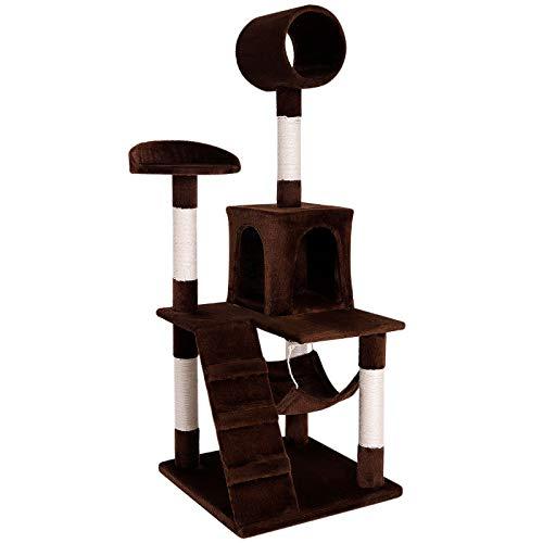 dibea kb00351 rascador para gatos, 133 cm, Árbol escalador arañar juguete marrón