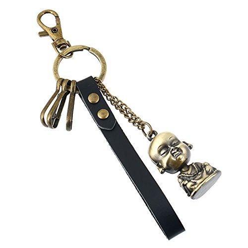 Boowhol-High-End-Boutique Auto Leder Schlüsselanhänger Retro Männer und Frauen Tasche Anhänger Legierung Buddha Schlüsselanhänger (Buddha Pfeife)