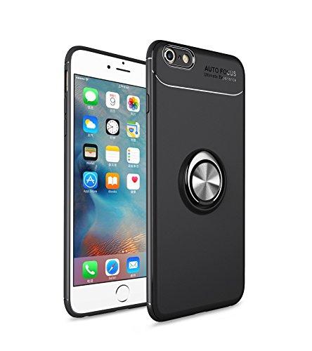 Homikon TPU Silicone Coque Etui Housse de Protection Case avec 360 degré Anneau Support Magnétique Soft Flexible Bumper Gel Shock-Absorption Étui Couverture pour iPhone 7/8 - Noir