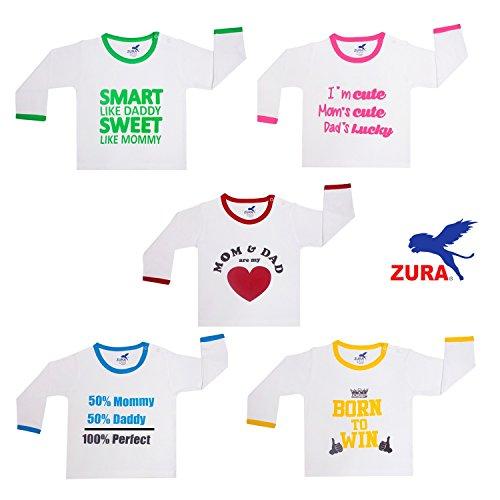 ZURA Unisex Cotton T-Shirt (Multicolour, artf5--3-6 months) - Pack of 5
