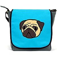Pug Messenger Bag/Satchel | Pink, Blue or Grey | Waterproof Canvas | By Paw Prints