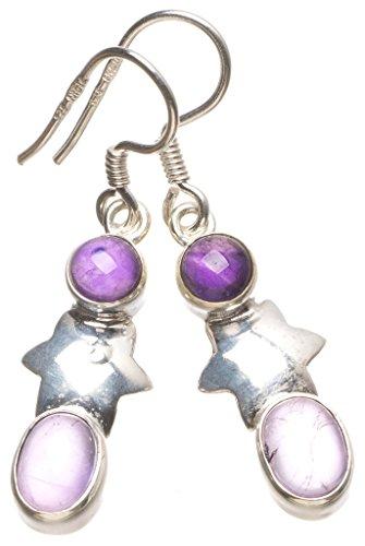 Silber Schmuck Brighton Sterling (StarGems(tm) 925er Sterling Silber Amethyst Einzigartig Handgefertigt Ohrringe 3,81cm Purple T3549)