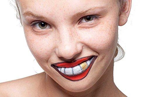 Make-up komplett Set–Set enthält: 1x Schwarz Eyeliner, 1x rot, 1x Lippenstift Weiß Facepaint, 1x gold Lidschatten (Zähne Make Up Halloween)
