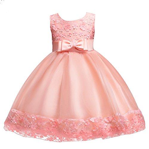 FYMNSI Kinder Mädchen Partykleid Blumen Tutu Prinzessin Hochzeit Brautjungfer Kleid Blumenmädchen Festlich Abendkleid Kleinkinder Baby Geburtstag Tüllkleid Festzug Sommerkleid Rosa