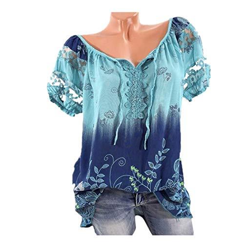 ❤️Femmes manches courtes en dentelle à col en V Imprimé Dentelle Tops Loose T-Shirt Blouse Tefamore (FR-38/CN-L, Bleu)