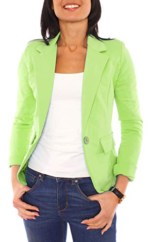 Easy Young Fashion Damen Sweat Jersey Blazer Jacke Sweatblazer Jerseyblazer Sakko Kurz Gefüttert Langarm Uni Apfelgrün L - 40 (XL)