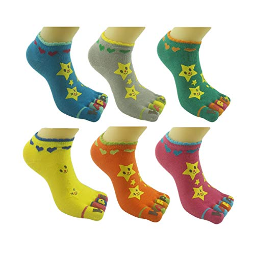BONAMART ® 6 Paar Kids Kinder Mädchen Junge 5 Zehen Socken Zehensocken 3-5 Years Old (Athletische Socken Jungen)