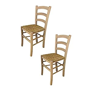 Tommychairs - Set of 2 chairs VENEZIA 38 suitable for kitchen and dining room, classic style and design, with strong structure in polished beechwood, not treated, 100% natural and with seat in straw