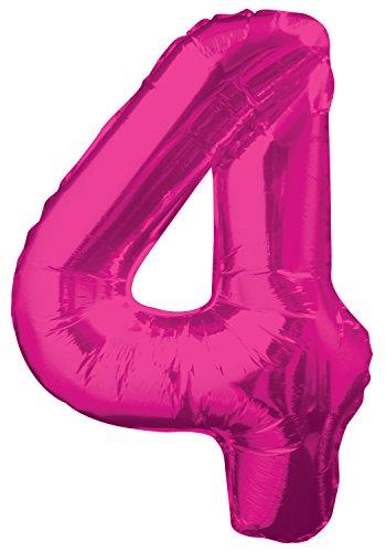 Unique Party Supplies Folienballon im Zahlen-Design, groß, - Mädchen Aufgeblasen