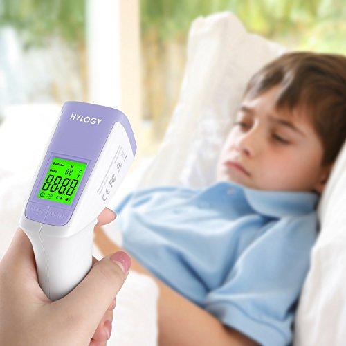 Termómetro de Frente Hylogy  Termómetro Digital sin Contacto  con Función de Alarma por Alta Temperatura para Bebés  Niños y Adultos