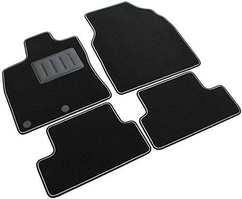 Alfombra de coche, SPRINT03302, Alfombrillas de moqueta para coche, color negro, antideslizantes, borde bicolor, talonera reforzada con caucho, Qashqai 2007>2013.