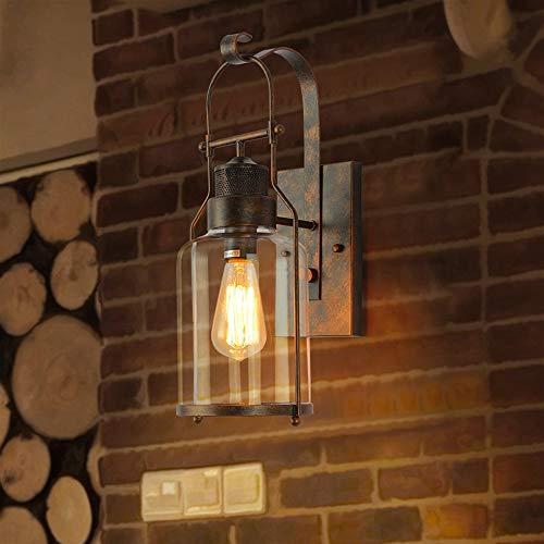 Retro Industrie Loft Wandleuchte Laterne Schmiedeeisen Nostalgisch Kreative Amerikanische Wandleuchte E27 Edison Hohe Helligkeit Glas Wand Lampen Vintage Bauernhaus Korridor Gang Beleuchtung -