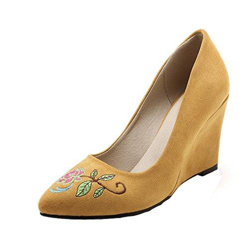 ENMAYER Femmes Le Daim Glisse Sur Talons De Chaussures Occasionnel Fait Coin Broderie Chaussures Cétro Jaune