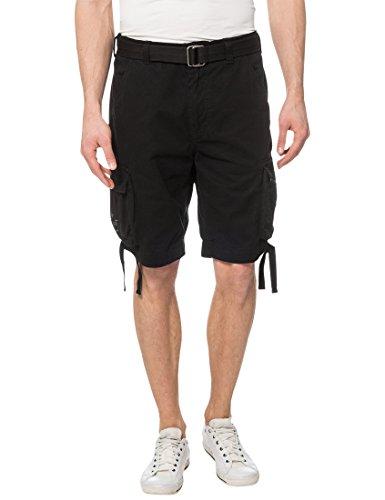 Lower East Herren Cargo Shorts mit Gürtel, Gr. 54 (Herstellergröße: 2XL), Schwarz