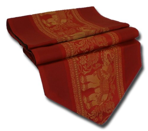 (rouge) Runner Nappe Table Thai Silk tableau éléphant élégant noble tablerunner