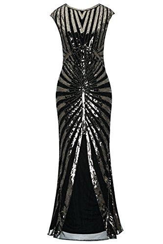 Metme Damen der 1920er Jahre Vintage Prom Fransen Pailletten Lange Flapper brüllend Gatsby Kleid für Party