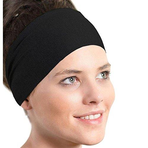 Stirnbänder, VENMO Frauen Sport Schweißband Yoga Gym Stretch Stirnband Handgemachte Halten Baumwolle Gemischt Tarnung Haarband Ladies Pure Farbe Stirnband Haarband 47X10.5cm (Black)