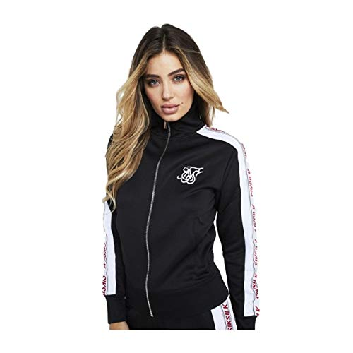 Track top Siksilk - 90Žs Panel Poly Zip negro/blanco/rojo