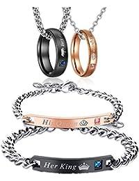 2stück Edelstahl Armband Anhänger Armschmuck King/&Queen Beauty/&Beast Paar