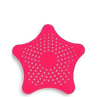 HomeTools.eu - XXL großes Silikon Abfluss-Sieb mit Saugnäpfen | für Küche Spüle Bad Wanne Dusche Gegen Haare, Krümel | 15 x 15cm, Rot