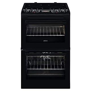 Zanussi ZCV46250BA 55cm Double Oven Electric Cooker With Ceramic Hob - Black
