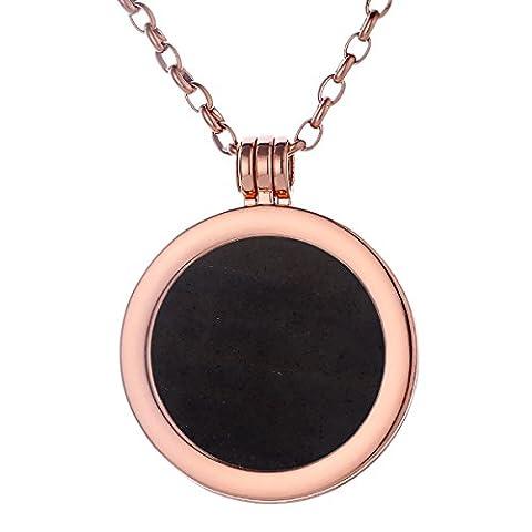 Morella Damen Halskette rosegold 70 cm Edelstahl und Anhänger mit Edelstein schwarzer Opsidian Coin 33 mm Chakren Scheibe in Schmuckbeutel