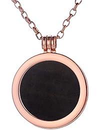 Morella Damen Halskette rosegold 70 cm Edelstahl und Anhänger mit Edelstein Coin 33 mm Chakren Scheibe in Schmuckbeutel