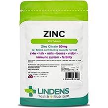 Lindens Citrato de zinc 50 mg en comprimidos | 100 Paquete | Contribuye a la normalidad