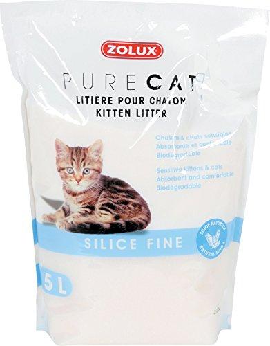Zolux Litière pour Chaton, Chat Sensible Pure Cat silice Fine 5 L Confortable, absorbante, biodégradable