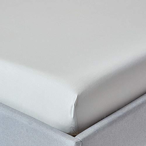Homescapes Spannbettlaken Silbergrau extra hoch - Matratzenhöhe bis zu 40 cm - für Matratzengröße 180 x 200 cm,100% Reine ägyptische Baumwolle, Fadendichte 200 Perkal-Bettlaken -