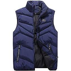 OSYARD Homme Manteau Hiver Chaud à Capuche Coton Doudoune sans Manches Blousons Parka Épais Gilet Grande Taille (Bleu,XL)
