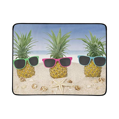 KAOROU DREI frische Ananas auf Sand-Sonnenbrillen tragbare und Faltbare Kuschel-Matte 60x78 Zoll handliche Matte für Camping Picknick Strand Indoor Outdoor-Reise