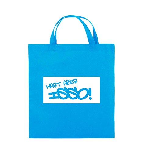 Comedy Bags - HART ABER ISSO! - Jutebeutel - kurze Henkel - 38x42cm - Farbe: Schwarz / Silber Hellblau / Weiss