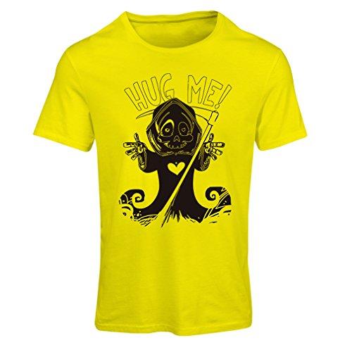 Camiseta mujer ¡La muerte viene! Ropa de Halloween esqueleto, malvada hoz de cráneo (Large Amarillo Multicolor)