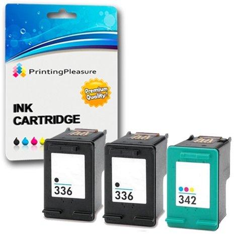 Printing Pleasure 3 Tintenpatronen kompatibel zu HP 336 342 für DeskJet 5420 5432 5440 5442 Officejet 6310 6315 Photosmart 2570 2575 2710 C3100 C3180 C4180 D5160 - Schwarz/Color, hohe Kapazität