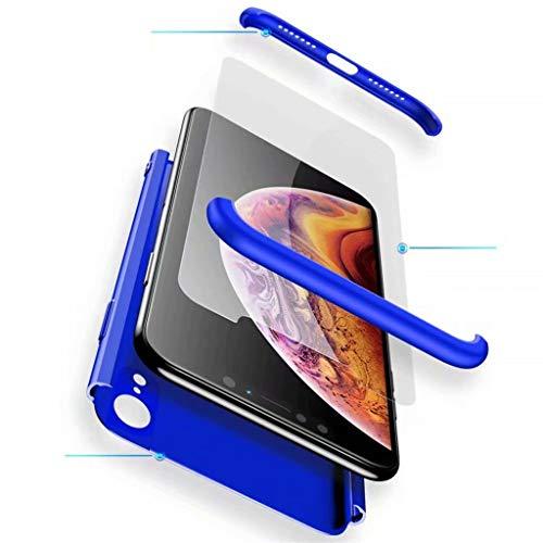 Fanxwu Kompatibel mit Oneplus 7 Hülle 3 in 1 Kombination 360 Grad Schutz Schutzhülle [Gehärtetes Glas Schutzfolie] Anti-Kratzer Schützend Abdeckung - Blau