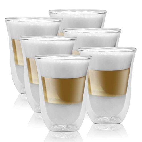 3x Delonghi Latte Macchiato Kaffee 2er Doppelwandiges Thermoglas