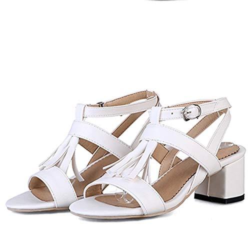 TRFLH& Plus Size 32-48 Summer Sandals Women High Heels Roman Sandals Sexy Peep-Toe Wedding Stiletto Pumps Shoes Woman 744-8 White 10