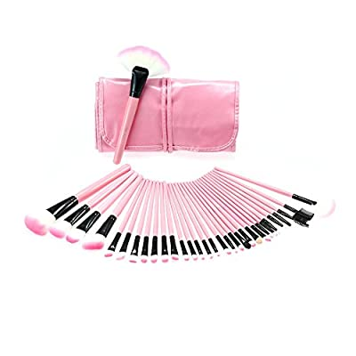 Abody Wood 32Pcs Makeup Brushes Kit Professional Cosmetic Make Up Set + Pouch Bag Case (32PCS, Pink)