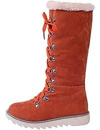 Winter Stiefel Damen,Elecenty Frauen Warm Gefütterte Schneestiefel  Stiefeletten Westernstiefel Elegante Schuhe Flache Schlupfstiefel  Schnürstiefel 5aee59e4a1