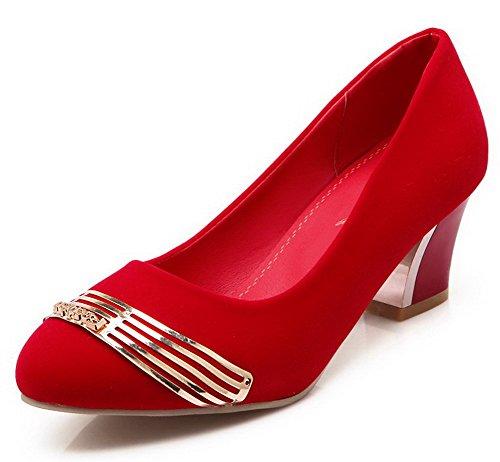 VogueZone009 Femme Dépolissement Rond à Talon Haut Tire Couleur Unie Chaussures Légeres Rouge
